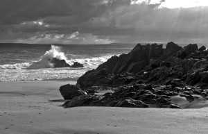 Porthgwidden Beach a dramatic day in winter